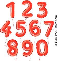 baloons, getallen, set, rood, lucht, gelul, voor, versiering, verjaardagsfeest, verzameling, vector, jubileum, illustratie, affiches, kaarten, logos