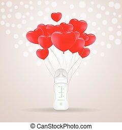 baloons, illustration., cuore, isolato, fondo., forma, vettore, bottiglia, bambino, latte, rosso