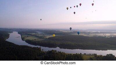 baloons, länder, aus, luft, grüner fluß