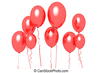 baloons - red baloons on white background