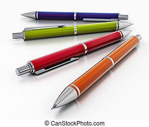 balpen, vrijstaand, illustratie, achtergrond., pen, wit rood, 3d