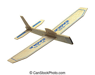 Toy Plane - Balsa Wood Toy Plane Flying Isolated on White...