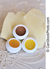 three balsams for lips with cocoa butter