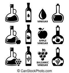 balsamic, びん, アップル, 酢, アイコン, りんご酒, ベクトル, デザイン, -, セット