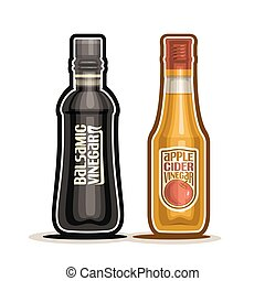 Vector flat apple cider vinegar bottle template vector eps balsamic and apple cider vinegar malvernweather Gallery