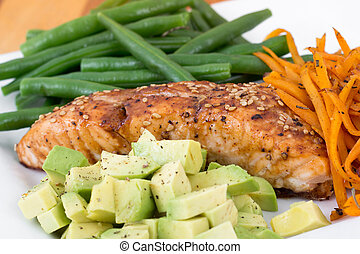 balsamic and maple salmon dish with bean avocado and yam