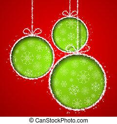 balsl, eps10, cutted, abstratos, saudação, ilustração, xmas, papel, experiência., vetorial, verde, cartão, natal, vermelho