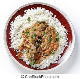 Balti chicken meal from above - Basic homemade balti chicken...