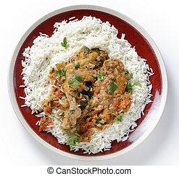 balti, pollo, comida, sobre