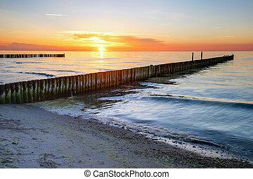 baltic, 傍晚, 海