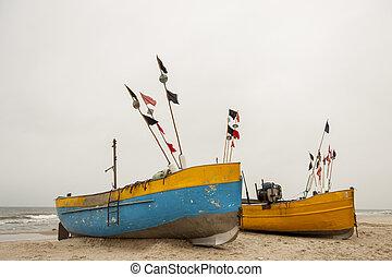baltic, 海岸, -, poland., rewal