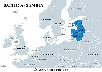 Baltic Assembly (BA) member states political map. Regional ...