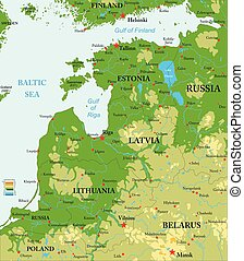 Baltic countries physical map - Highly detailed physical map...