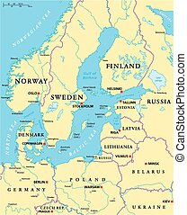Baltic Sea Area Political Map with capitals, national...