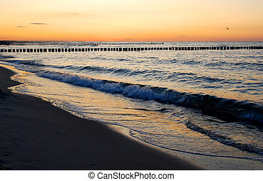baltic sea coast in beautiful twilight after sunset