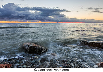 Baltic Sea in the morning with dramatic clouds