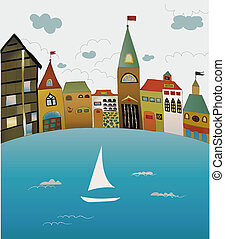 Baltic Sea - view of the old town from the sea