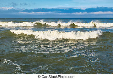 Baltic sea waves - Baltic sea, powerful waves crushing on a ...
