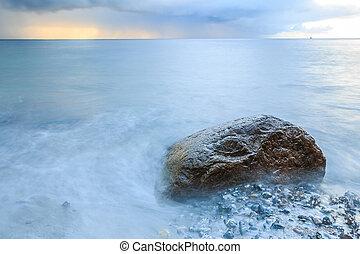 Baltic Sea with rocks on coastline