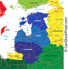 Highly detailed vector map of the Baltic states with administrative regions, main cities and roads.