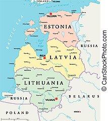Baltic States Political Map. Estonia, Latvia and Lithuania...