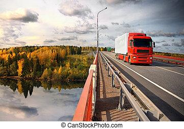 Baltic trucking - truck and bridge over Saima channel, ...