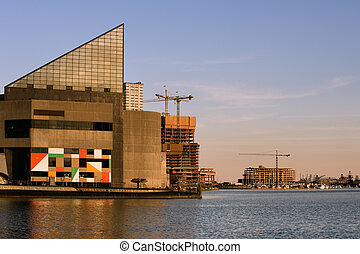 Baltimore Aquarium - Aquarium building at sunset in...