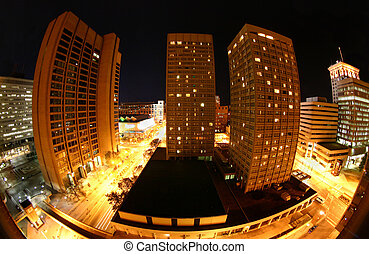 Baltimore at night - The harbor/downtown area of Baltimore, ...
