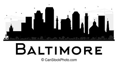 Baltimore City skyline black and white silhouette.
