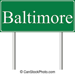 Baltimore green road sign isolated on white background