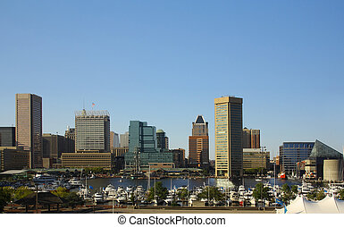 Baltimore Inner Harbor - Baltimore skyline with the Inner ...