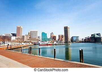 Baltimore Inner Harbor marina and skyscrapers, USA