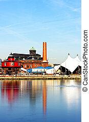 Baltimore Inner Harbor, Pier 5. Reflections in ice.
