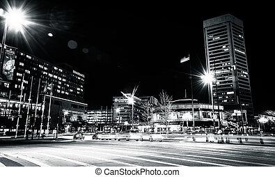 baltimore, luz central, comercio, maryland., calle, tráfico,...