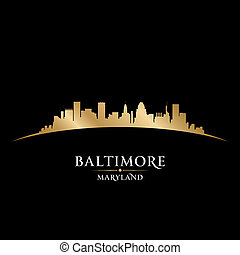 Baltimore Maryland city skyline silhouette black background...