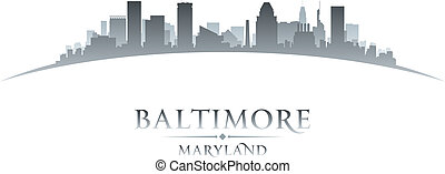 Baltimore Maryland city skyline silhouette white background...