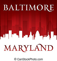 Baltimore Maryland city skyline silhouette red background