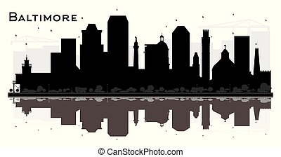 Baltimore Maryland City Skyline Silhouette with Black Buildings and Reflections Isolated on White.