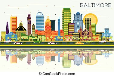 Baltimore Maryland City Skyline with Color Buildings, Blue Sky and Reflections.