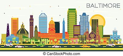 Baltimore Maryland City Skyline with Color Buildings on Blue Sky.