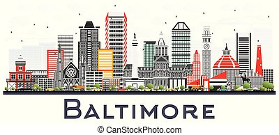 Baltimore Maryland City Skyline with Gray Buildings Isolated on White.