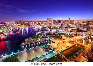 Baltimore, Maryland Inner Harbor Skyline - Baltimore,...