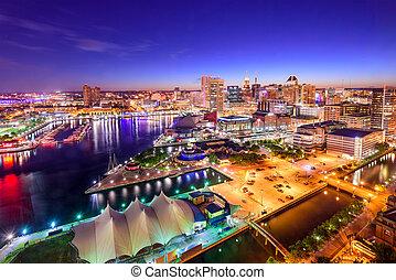 Baltimore, Maryland Inner Harbor Skyline - Baltimore, ...