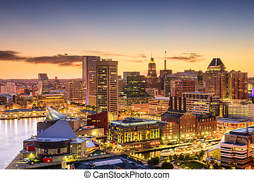 Baltimore, Maryland Skyline - Baltimore, Maryland, USA...