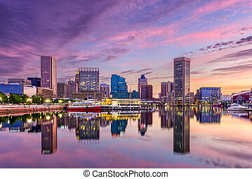 Baltimore Maryland Skyline - Baltimore, Maryland, USA...