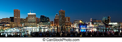 baltimore, maryland, skyline, op de avond