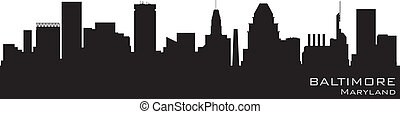 baltimore, maryland, skyline., szczegółowy, wektor, sylwetka