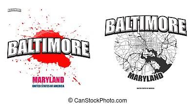 Baltimore, Maryland, two logo artworks