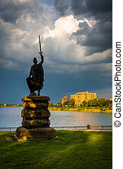 baltimore, park, druid, meer, maryland., heuvel, standbeeld