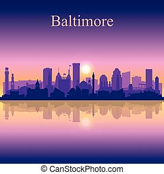 Baltimore silhouette on sunset background